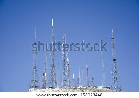 TV transmitter stations - stock photo