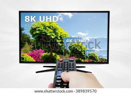 TV ultra HD. 8K 4320p television resolution technology - stock photo