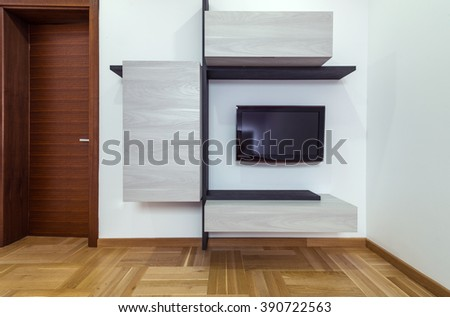 TV unit and door in home interior