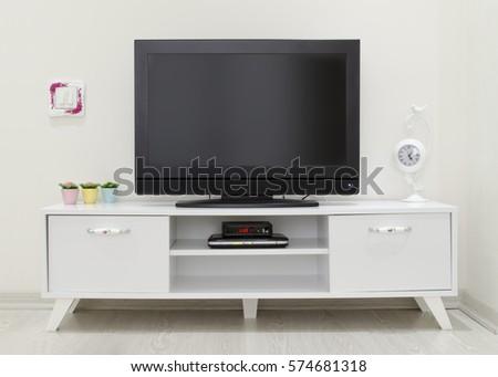 tv in living room. tv unit in living room Black White Living Room Tv Stand Stock Illustration 112639304