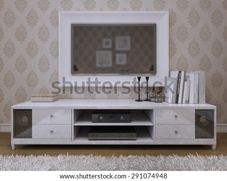 TV unit with a TV on the wall in a white frame. Modern and Art Deco style. 3D render.