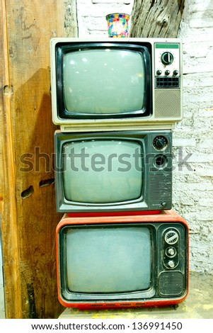 TV vintage stack in my home - stock photo