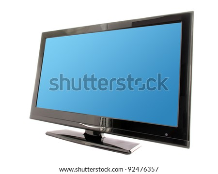 tv with blue display isolated on white background