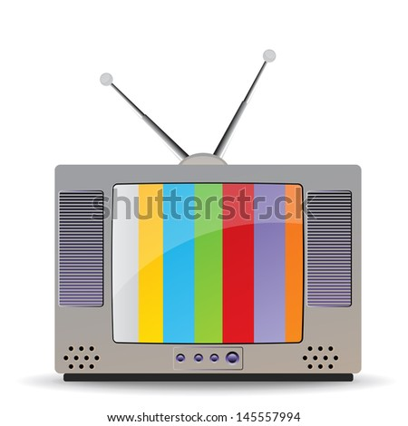 tv with color screen on white - stock photo
