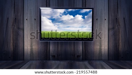 tv with landscape   - stock photo