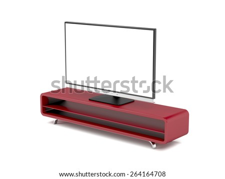 Tv with stand on white background - stock photo