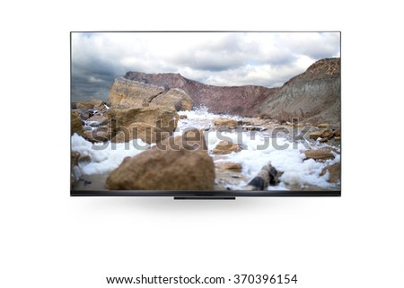 tv with the Dead sea view - stock photo
