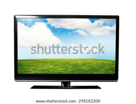 tv with the nature view - stock photo