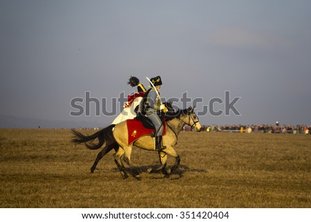 TVAROZNA, CZECH REPUBLIC - DECEMBER 5, 2015: History fans in military costumes reenacts the Battle of Three Emperors on December 5, 2015 in Tvarozna, Czech Republic.