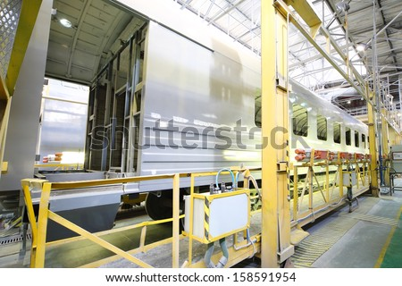 TVER - JUN 05: Body of the wagon, side view in the shop of the Tver Carriage Works, on June 05, 2013 in Tver, Russia.