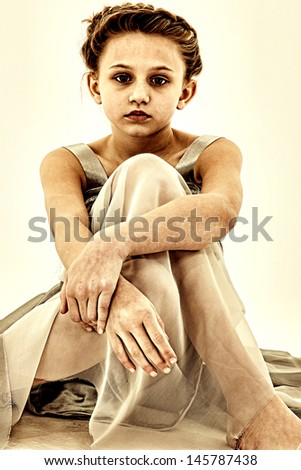 Tween girl depression, lonely, or illness concept. - stock photo