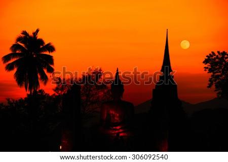 Twelfth night at Sukhothai Historical Park, Sukhothai (Thailand) - stock photo