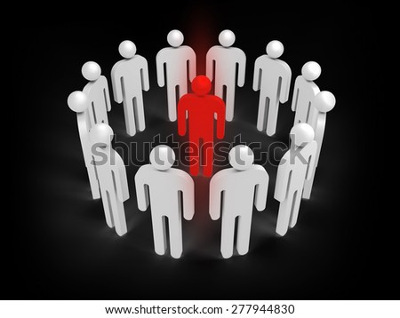 Twelve abstract white 3d people figures stand in ring with one red person inside isolated on black. Illustration concept of virus infection, individuality, condemnation - stock photo