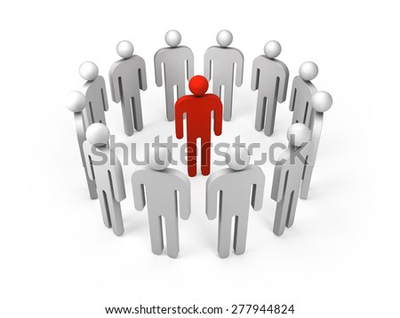 Twelve abstract white 3d people figures stand in ring with one red person inside isolated on white. Illustration concept of leadership, teamwork, individuality, condemnation, social network business