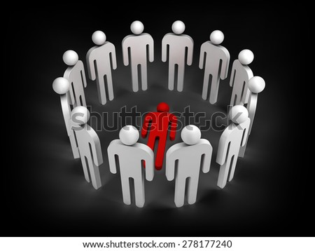 Twelve abstract white 3d people stand in ring with one red lying person inside isolated on black - stock photo