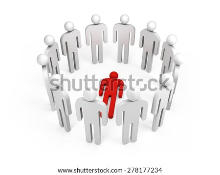 Twelve abstract white 3d people stand in ring with one red lying person inside isolated on white - stock photo