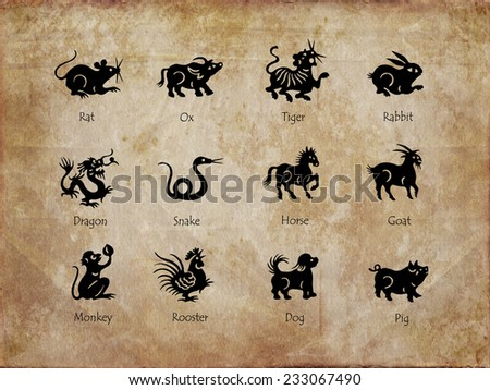 Twelve animals of the chinese zodiac, vintage sepia background