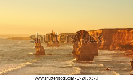 Twelve Apostles, famous landmark along the Great Ocean Road, Australia - stock photo