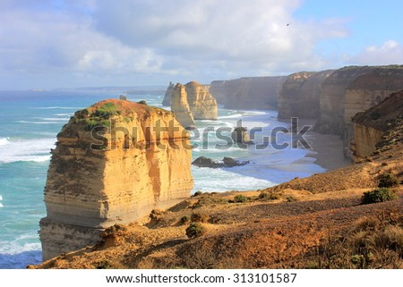Twelve Apostles seascape along the great ocean road in Australia in morning sunlight....DP