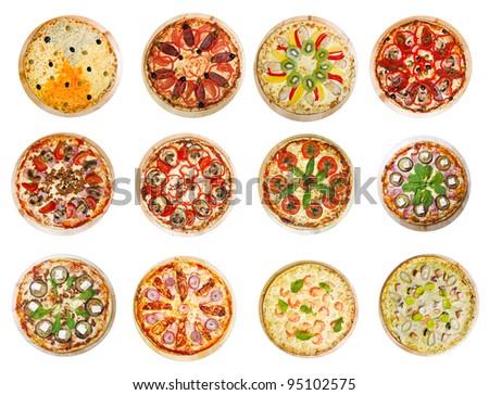 twelve different pizzas put in one set - stock photo