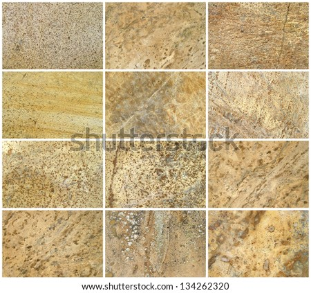 Twelve Natural Limestone Background or textures. The real color. Without saturation of colors. - stock photo