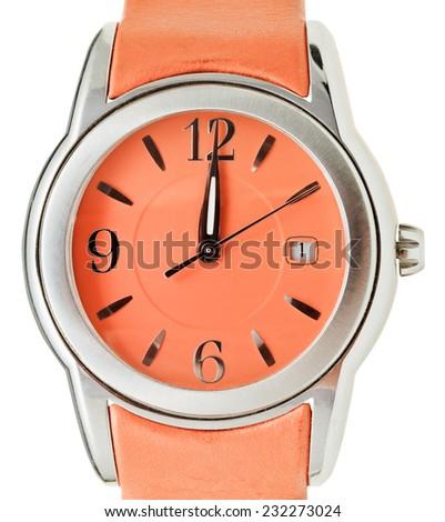 twelve o'clock on dial of orange wristwatch isolated on white background - stock photo