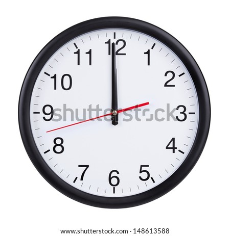 Twelve o'clock on the dial round clock - stock photo