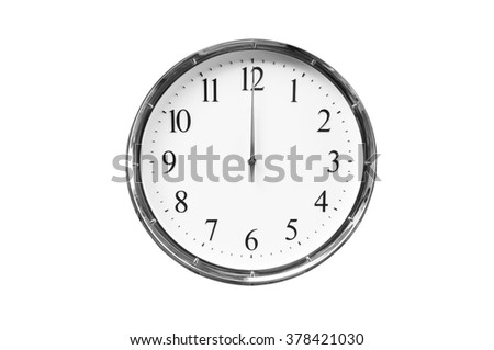 Twelve o'clock on the white wall clocks (isolated) - stock photo