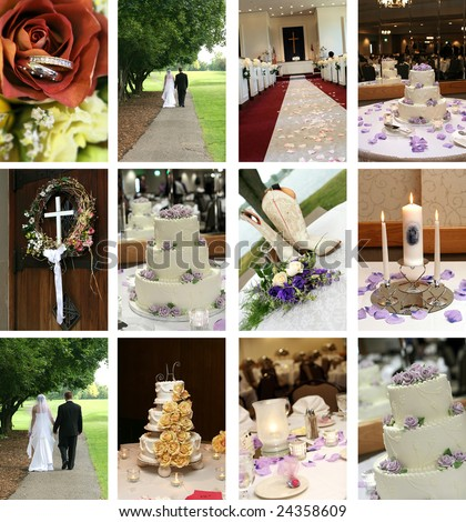 twelve small wedding themed images ideal for web pages - stock photo