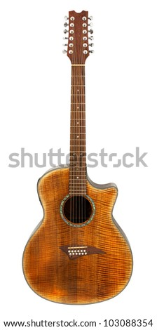 Twelve String Acoustic Guitar isolated on white background - stock photo