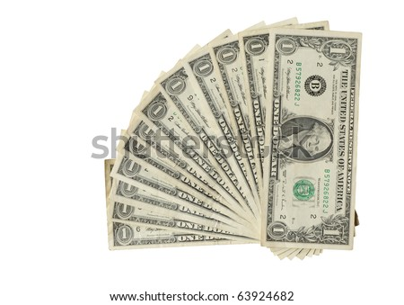 Twelve USA one dollar bank notes isolated on white with clipping path - stock photo
