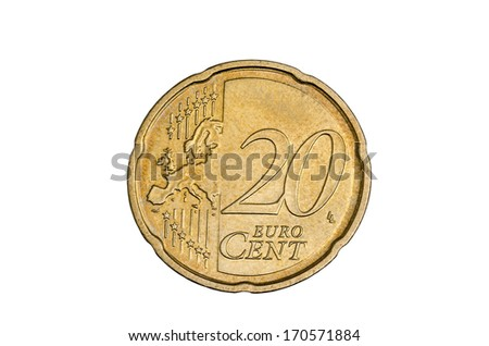 twenty cent coin free cutted - stock photo