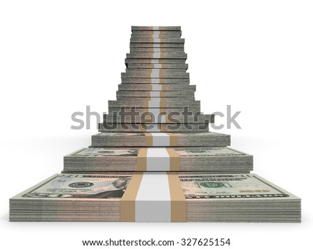 Twenty dollar banknotes background. 3D illustration. - stock photo