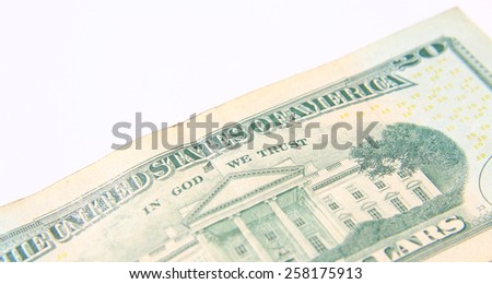 Twenty Dollar Bill isolated over white background