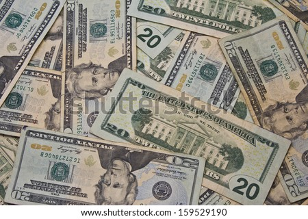 Twenty Dollar Bills for Abstract Background - A Pile of Twenty Dollar Bills for Abstract Background - stock photo