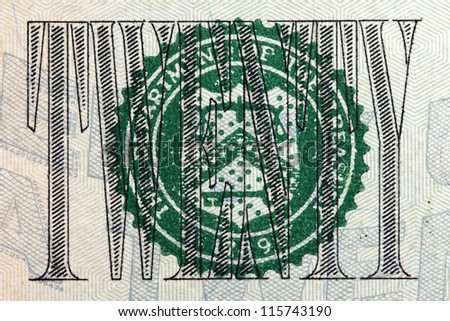 twenty dollar sign on the twenty dollar bill - stock photo
