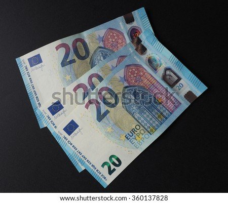 Twenty Euro banknotes currency of the European Union - new design (2015) - stock photo
