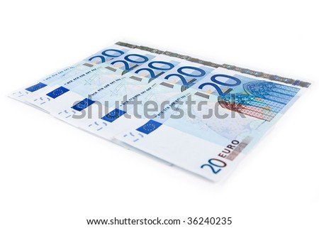 Twenty euro banknotes isolated on a white background.