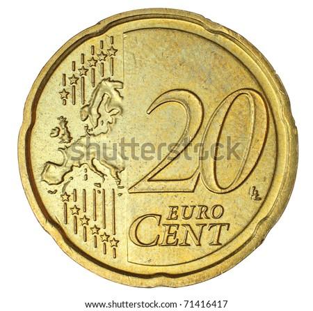 Twenty euro cent on white background - stock photo
