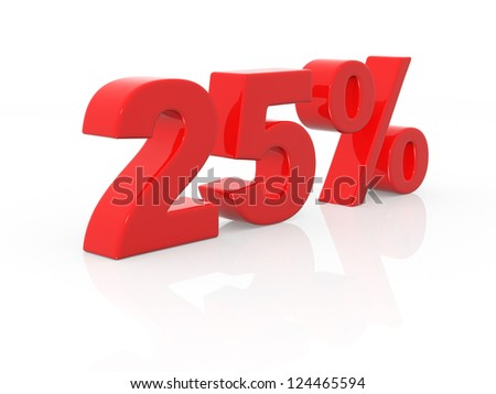 twenty-five percent - 3d render illustration