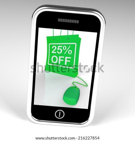 Twenty-five Percent Off Bag Displaying Online Shopping 25  Discounts - stock photo