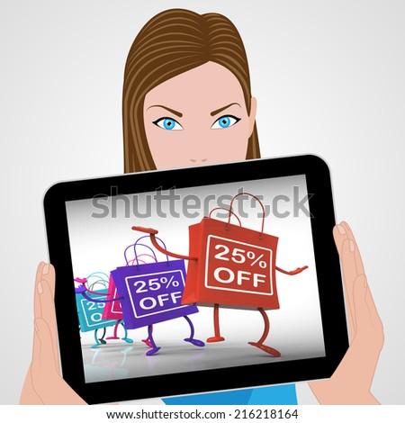 Twenty-five Percent Off Bags Displaying 25 Sales - stock photo