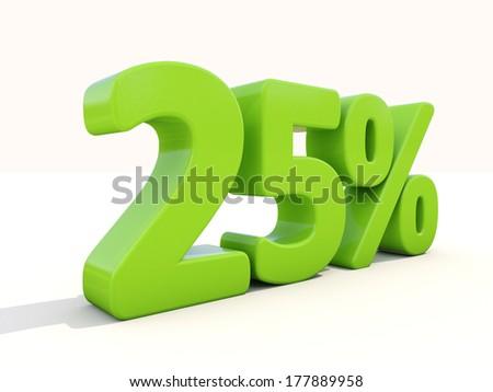 Twenty five percent off. Discount 25%. 3D illustration. - stock photo