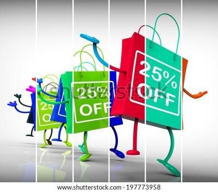 Twenty-five Percent Off Shopping Bags Show 25 Discounts - stock photo