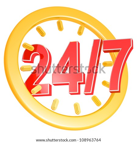 twenty four hour seven days a week service sign - stock photo