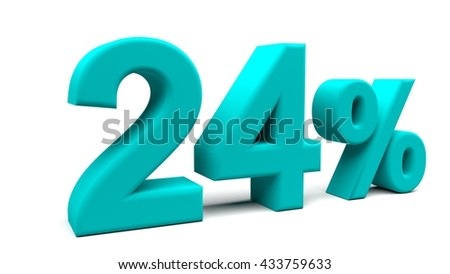 Twenty four percents 3D text, with big fonts isolated on white background. 3D rendering.