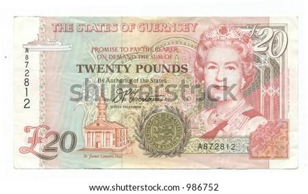 Twenty Guernsey Pounds - stock photo