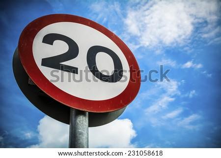 Twenty miles per hour - stock photo