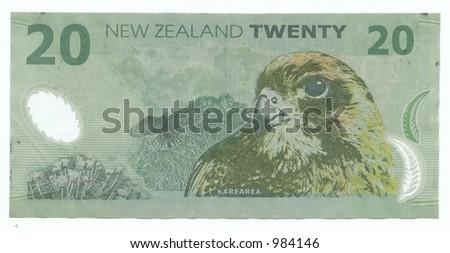 twenty new zealand dollars - stock photo