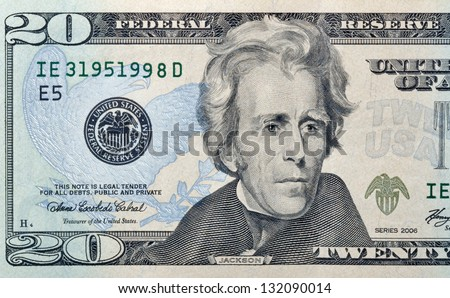 twenty paper dollars bill macro - stock photo